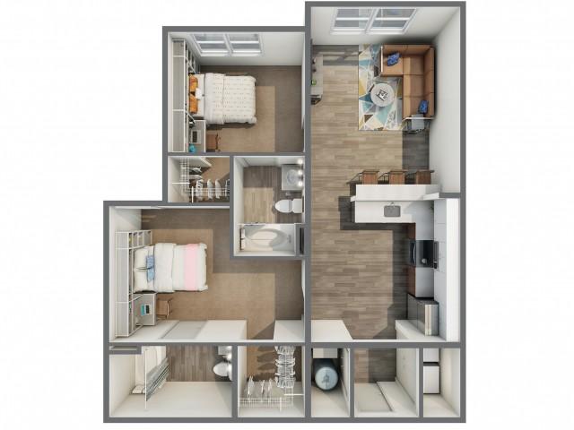 3D Floor Plan of 2x2A