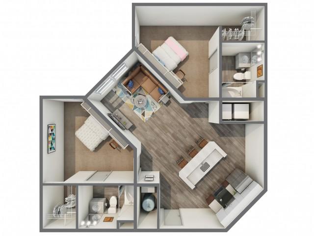 3D Floor Plan of 2x2B