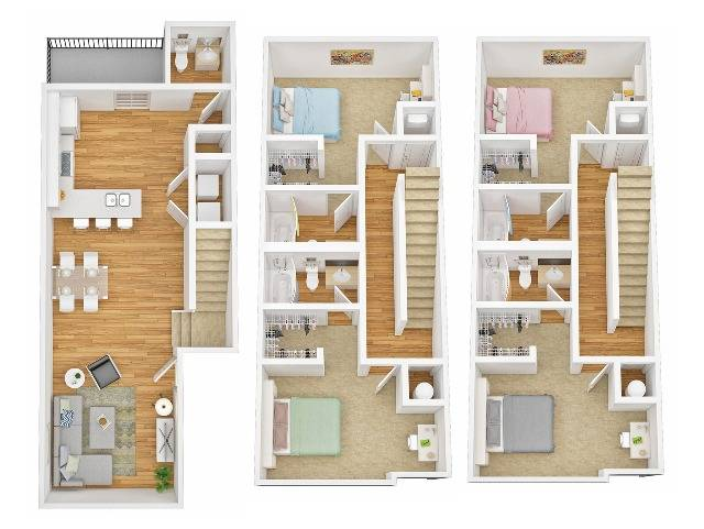 Four Bedroom Four Bathroom Townhome B