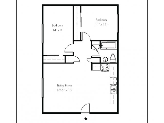 Small Two Bedroom One Bath