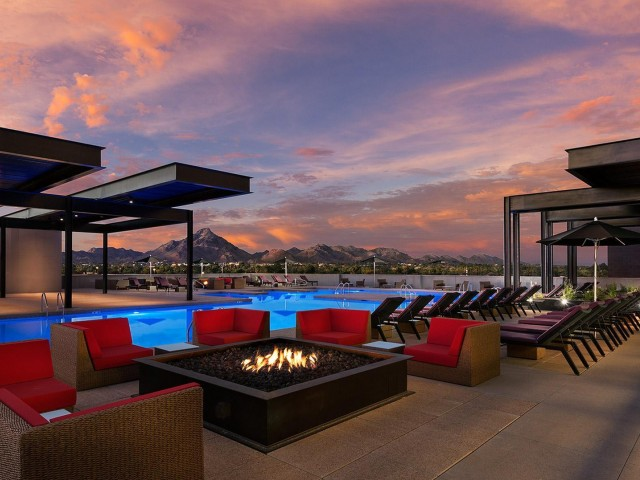 rooftop pool and fire pit