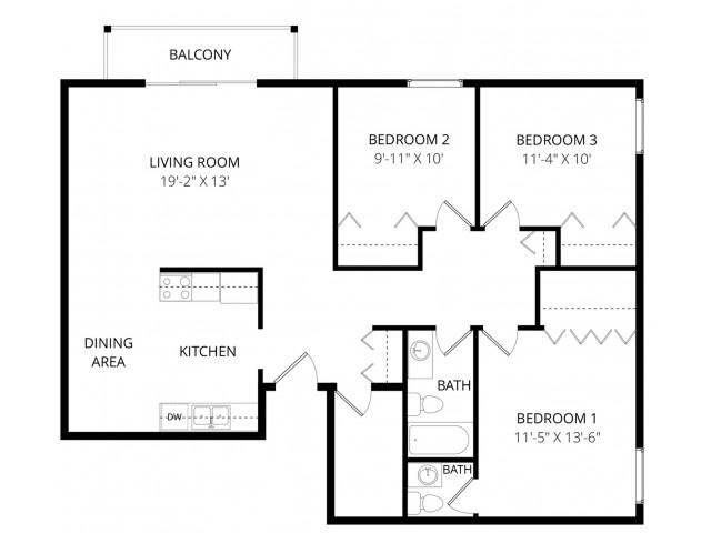 3 Bed / 1.5 Bath Apartment in Edmonton AB | Park Place South ...