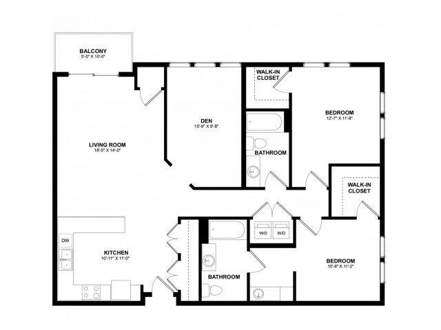 Covington 2 bedroom den A
