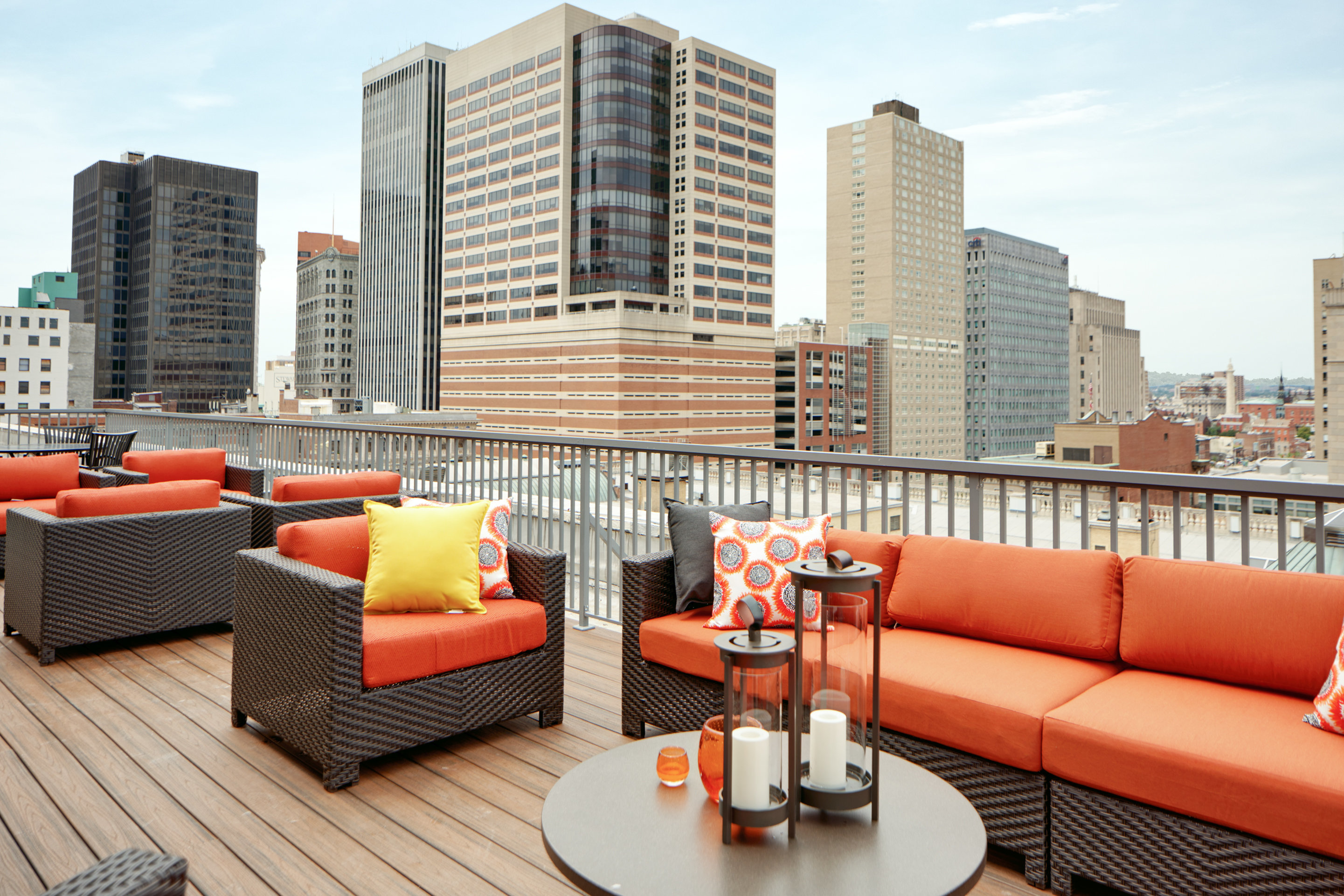Image of Indoor/Outdoor rooftop lounge with fireplace for The Equitable Building