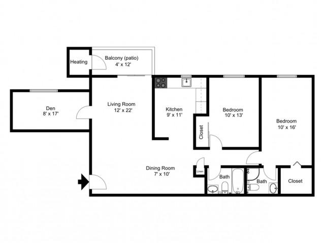 Two bedroom, two bathroom with a den floorplan