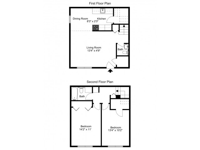 Two Bedroom, one and a half bath townhome floor plan
