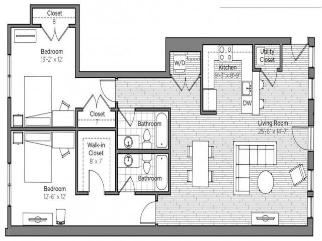 Floor Plan of a 2 bedroom 2 bathroom apartment