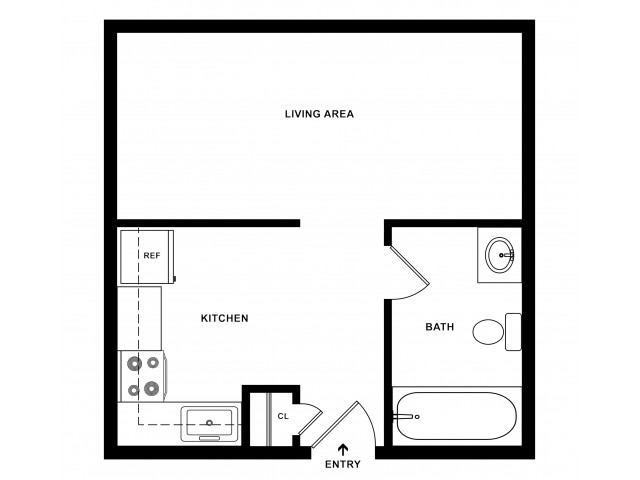 Efficiency Apartment Floorplan