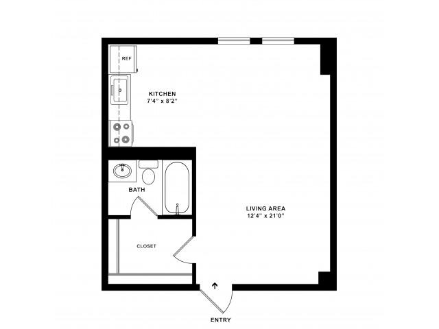 440 sq ft Studio Standard Floorplan
