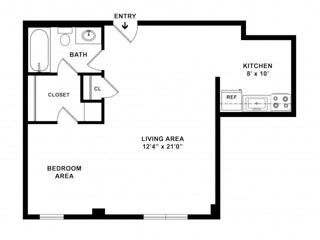 524 sq ft 1BR/1BA Standard Floorplan