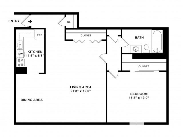 930 sq ft 1BR/1BA Plus Floorplan