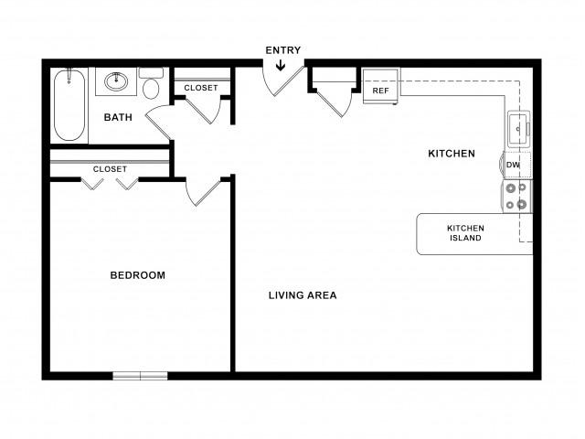1BR/1BA Deluxe Floorplan