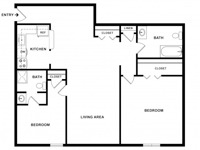 2BR/2BA Standard Floorplan
