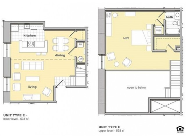 1 bedroom, 1 bathroom floorplan. Living space and kitchen with lofted bedroom upstairs