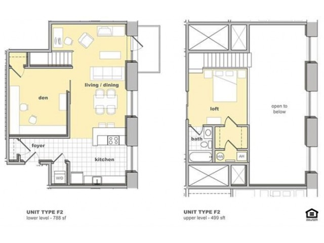 1 bedroom 1 bathroom floorplan with a den. Living space and kitchen, den closed in on three sides with lofted bedroom upstairs