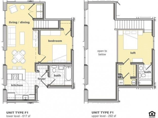 2 bedroom, 2 bathroom floorplan. Living space, kitchen, full bathroom, and 1 bed room on the first floor. A second bedroom with bathroom is lofted upstairs