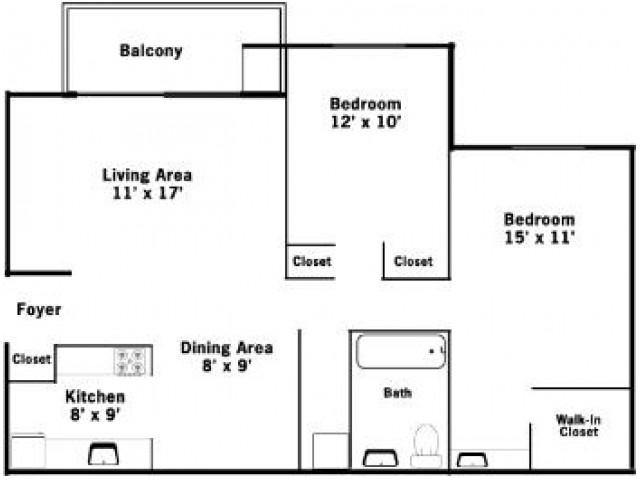 2BR/1BA Floorplan