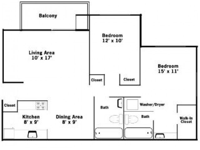 2BR/2BA Floorplan