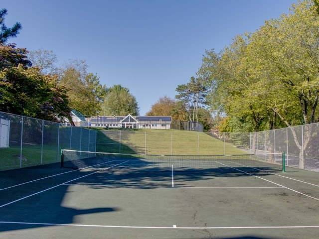 Fenced in, standard sized, single tennis court for residents to use.