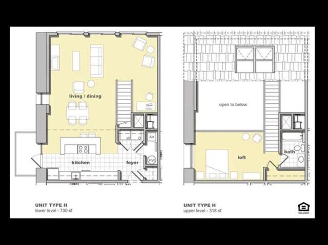 1 bedroom 1 bathroom floorplan. Living space and kitchen with lofted bedroom upstairs