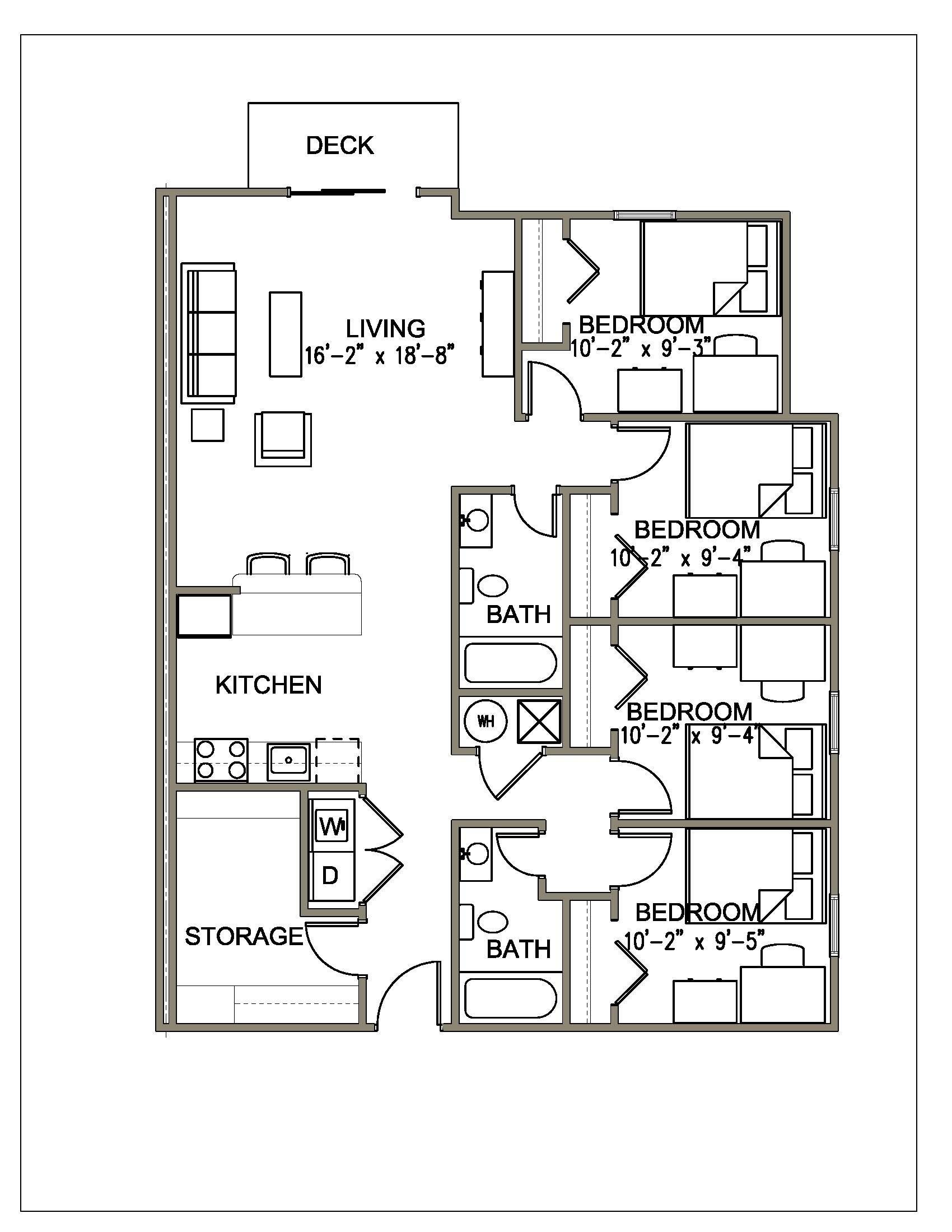 4 Bedroom 2 Bath Apartment Floor Plans Small House Interior Design