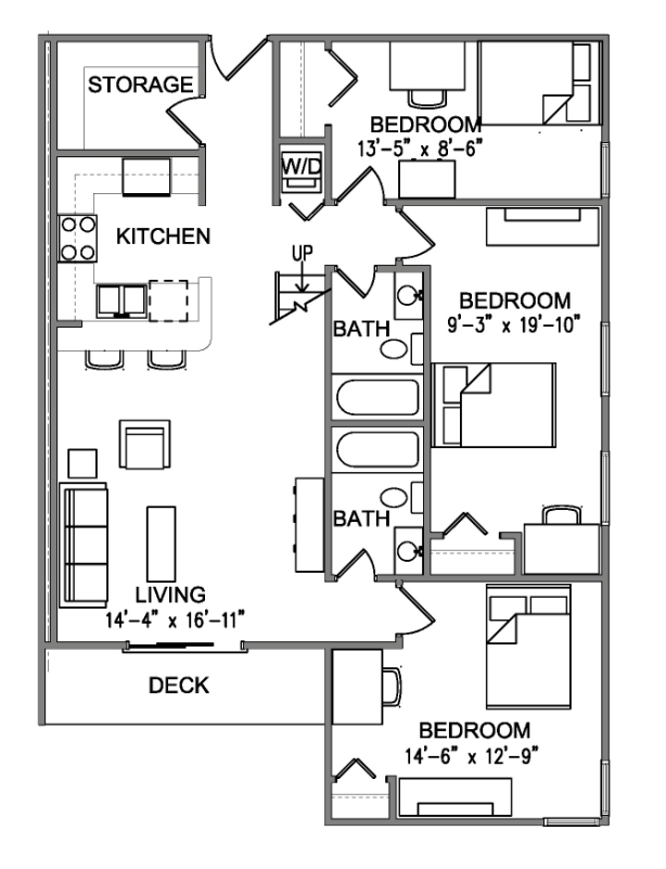 5Bedroom x 3Bath unit features fully furnished with Washer & Dryer inside unit. Ask us about how to secure a Master Room (with private bath).