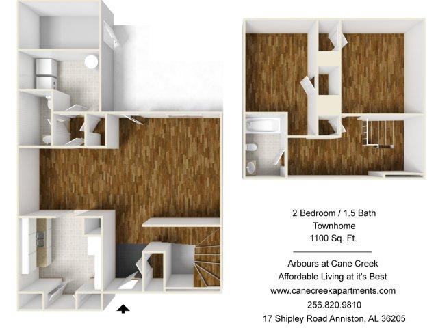 For The 2 Bedroom Townhome Floor Plan.