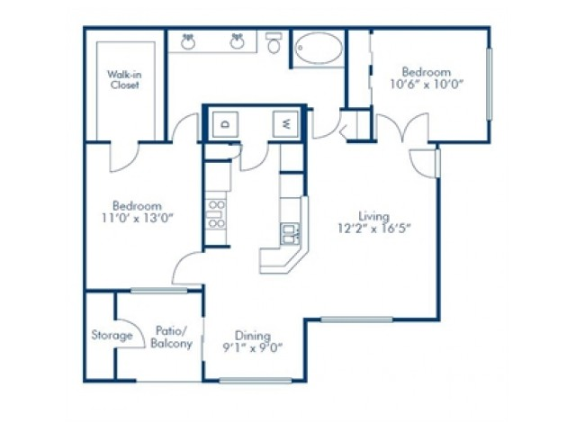 Solis at Towne Center Two Bedroom One Bathroom
