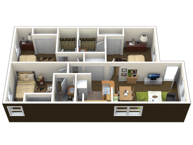 3 Bedroom Floor Plan | The Reserve at West 31st Student Apartments in Lawrence Kansas