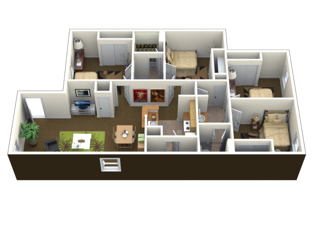 4 Bed 2 Bath Floor Plan Lawrence Ks Student Apartments