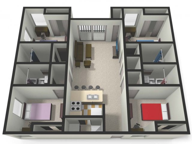 Four BedFour Bath Floor Plan | Four Bedroom Apartments near CMU