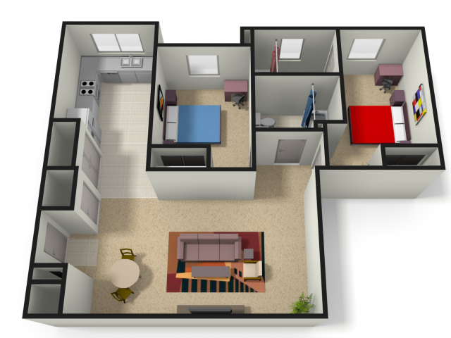 WVU Apartments For Students – Floor Plans For 2 Bedroom 2 Bath Homes