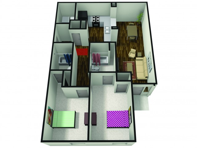 2 Bedroom Floor Plan | Apartments Near BSU | The Haven