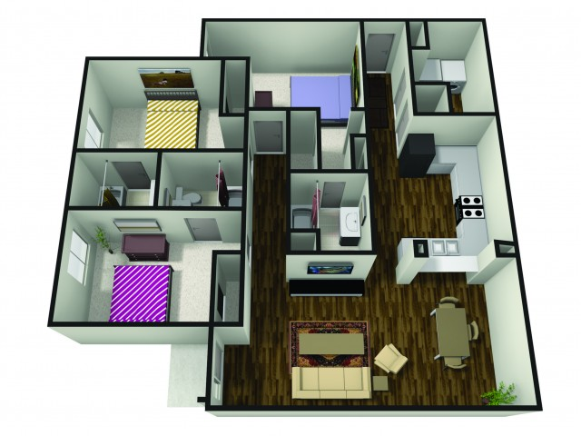 3 Bedroom Floor Plan | Muncie Apartments Ball State | The Haven