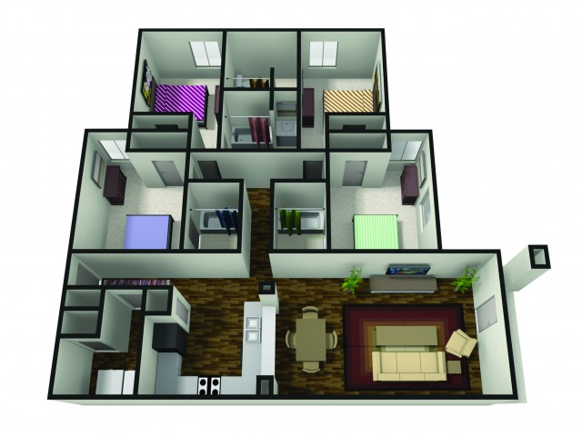 4 bedroom floor plan bsu off campus housing the haven - 4 Bedroom Apartments