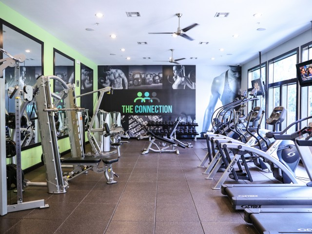 24 Hour Fitness Center at The Connection Apartments in Huntsville TX