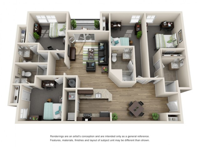 Reserve At Athens 4 Bedroom Floor Plan Furnished Apartment