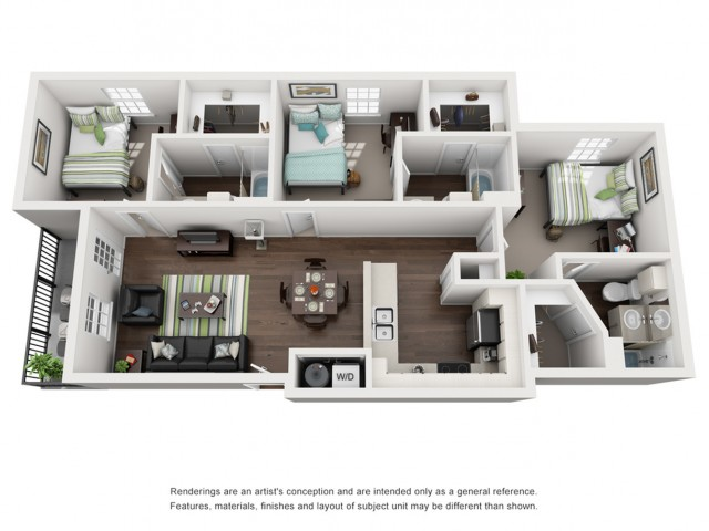 3d floor plan, 3 bed3 bath unit at Cavalier Crossing