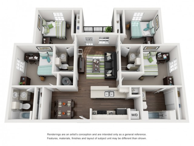 Floor Plan image, 4 bed4 bath apartment at Cavalier Crossing