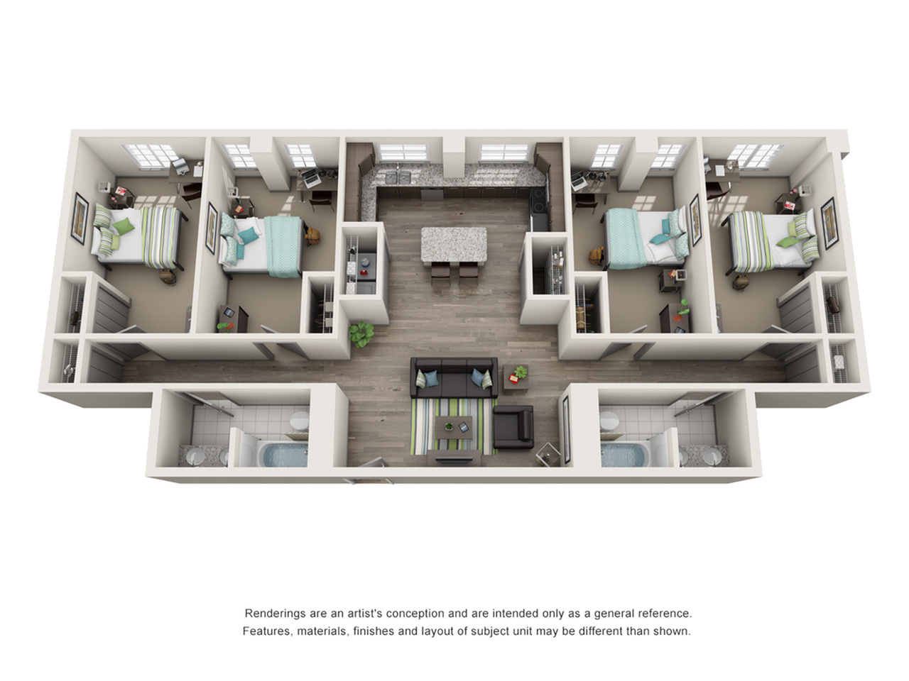 4 Bedroom Floor Plan | ISU Campus Apartments | Smallwood Plaza