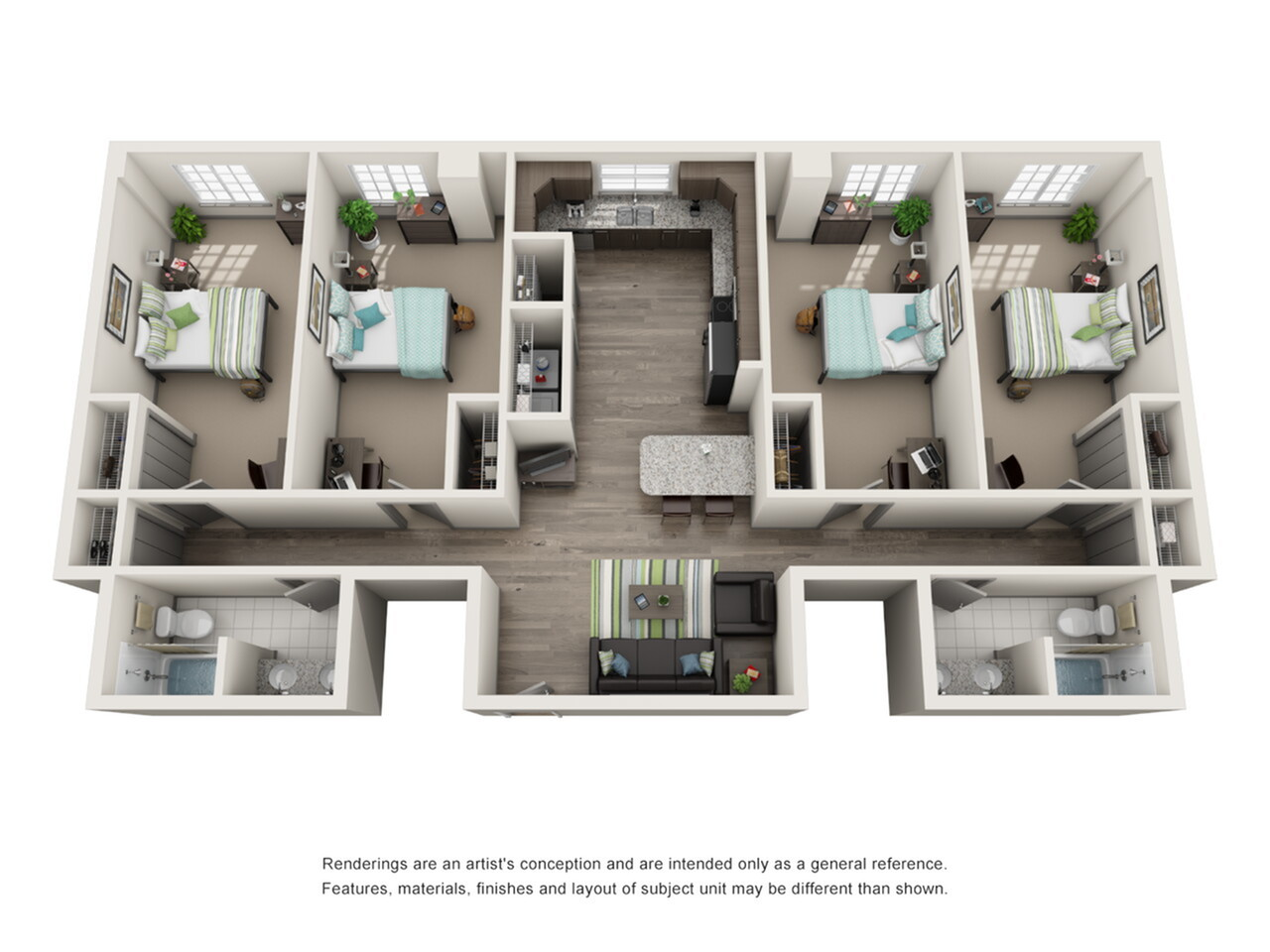 Floor Plan 3 | ISU Bloomington Off Campus Housing | Smallwood Plaza