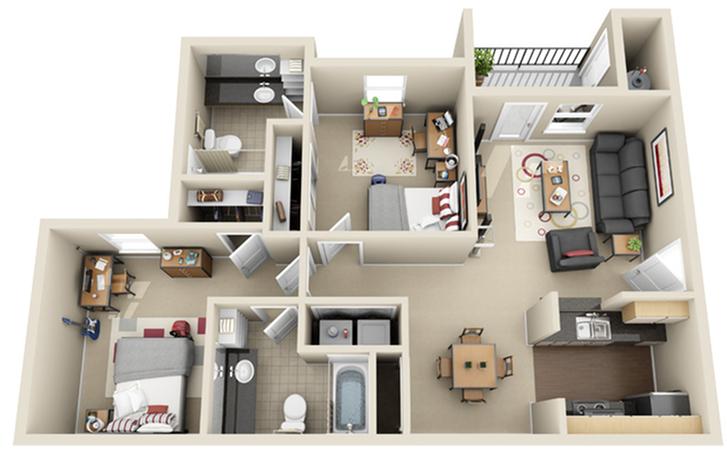2 Bedroom Floor Plan | The Landings at Chandler Crossings | Off-Campus Housing Near MSU