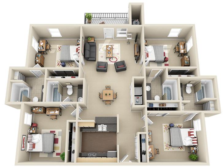 4 Bedroom Floor Plan   The Landings at Chandler Crossings   MSU Student Housing