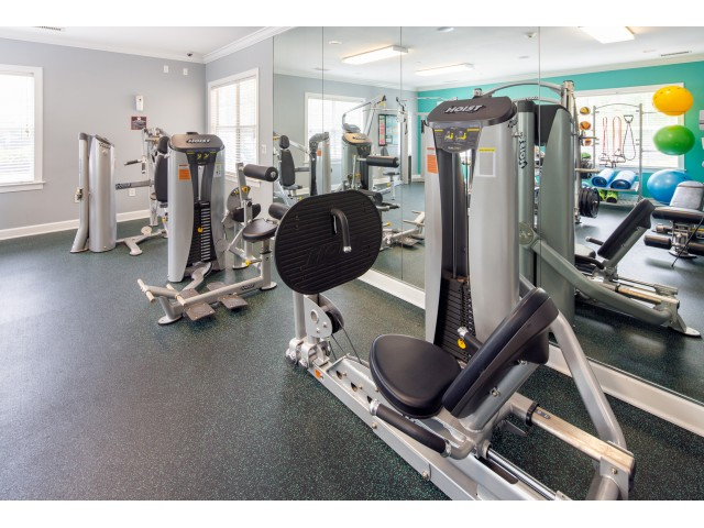 24-Hour Fitness Center with state-of-the-art machines, free weights, and more.