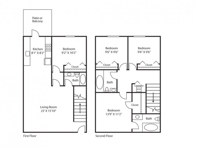 4 Bed, 3 Bath Floorplan