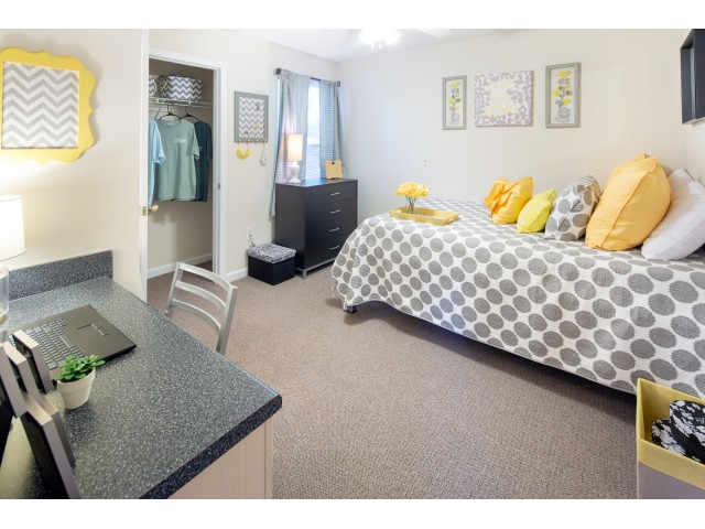 Furnished bedroom with a bed, dresser, built-in desk, and ceiling fan at The Reserve at Athens