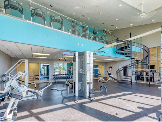Two Story Fitness Center at The Haven off-campus apartments for students near BSU.