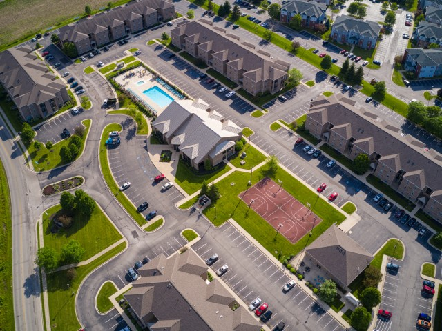 Outdoor Basketball Court and grounds from a bird\'s-eye view at The Haven apartments near BSU