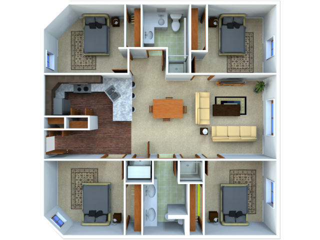 0 For The 4 Bedroom 2 Bathroom Floor Plan