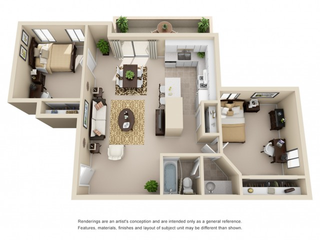 All|Floor Plans2 Bedroom 1 Bathroom